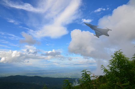 Plane Fighter jet the horizon as a background or wallpaper 写真素材 - 123925779