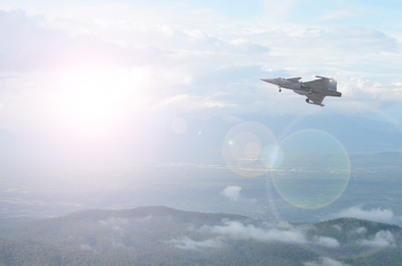 Plane Fighter jet the horizon as a background or wallpaper 写真素材 - 123925891