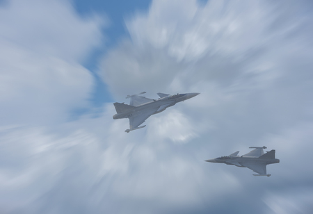 Plane Fighter jet the horizon as a background or wallpaper 写真素材 - 123925894