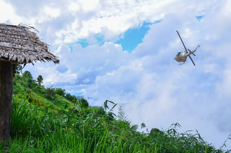 Helicopter Thai military flies into the sky.