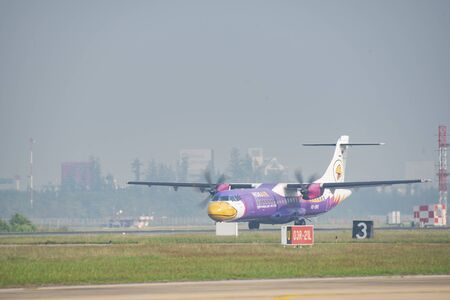 Don Muang Airport Thai -January 12, 2019 : Nok Air Thailand, a low-cost airline, arrives at Don Mueang International Airport.
