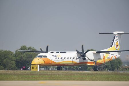 Don Muang Airport Thai - January 12, 2019 : Nok Air Thailand, a low-cost airline, arrives at Don Mueang International Airport.