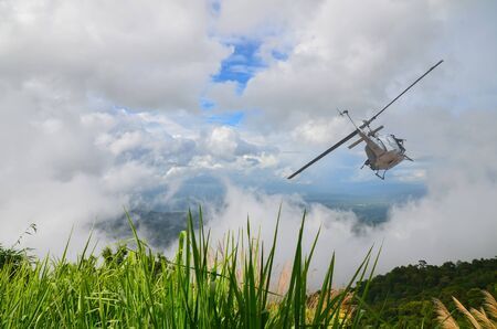 Helicopter   flies into the sky.