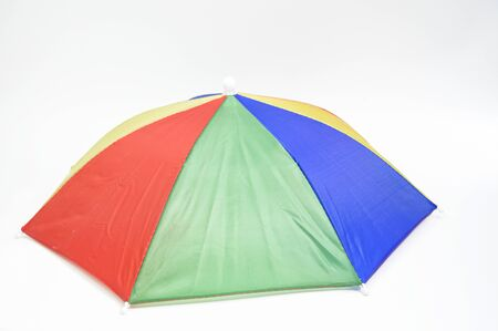 Brightly colored umbrellas on a white background