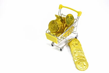 Shopping Cart, Bitcoin Coin, Electronic Currency, White Backdrop