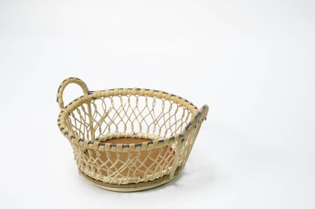 Empty baskets placed on a white background