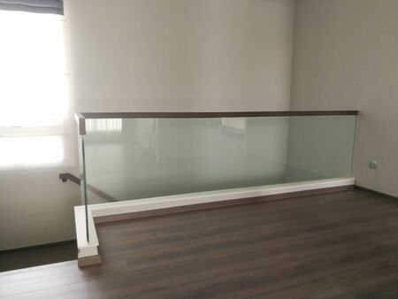 Corridor, staircase, railing with modern glass