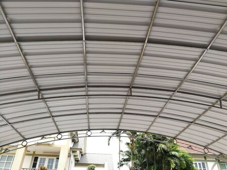 Garage roof frames made of steel on the cement floor.