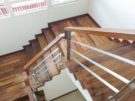 Wooden steps and luxurious in the house