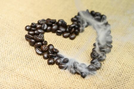A lot of coffee in the heart, complete with smoke