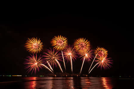 Fireworks and fireworks celebrating black background with copy space