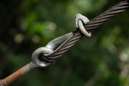 Metal and cable on natural background blur Foto de archivo