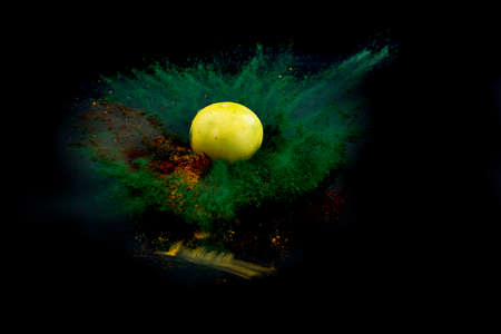 Explosion of colored powder with spaces for limes. isolated on an abstract background