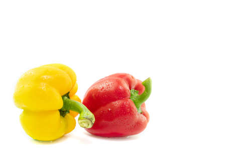 two bell peppers with cutout background on food abstract