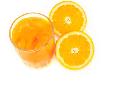 Orange fruit and glass on white background with copy space Archivio Fotografico