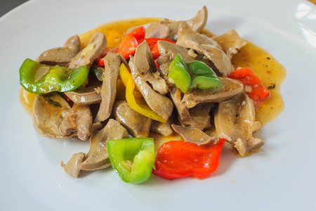 Liver fried sweet peppers from Thailand foods  photo