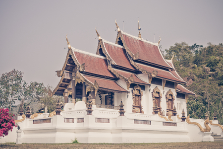thong: Traditional Arts and culture in Wat Phra Chao Lan Thong temple,Chiangrai Thailand. Vintage color tone