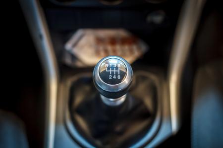 shift: Six speed gear shift in car . Gear transmission.