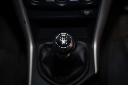 accelerated: Six speed gear shift in car . Gear transmission.