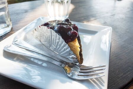 Blueberry cheesecake on the coffee shop