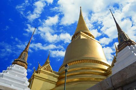 bangkok temple: Bangkok temple golden pagoda Wat Phra Kaeo Emerald Buddha temple Bangkok, Thailand Stock Photo