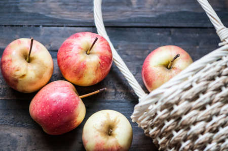 harvests: fresh apples with basket