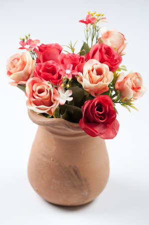 flower pot: roses in a pot Stock Photo