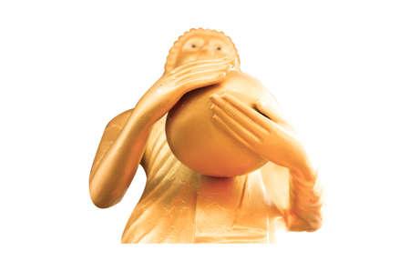idolatry: Stand Golden Buddha Statue isolated on white background Stock Photo