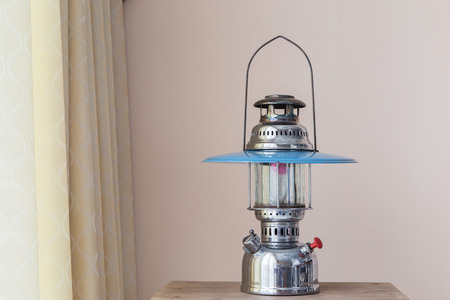 outmoded: Antique Hurricane Lamps for show. Stock Photo