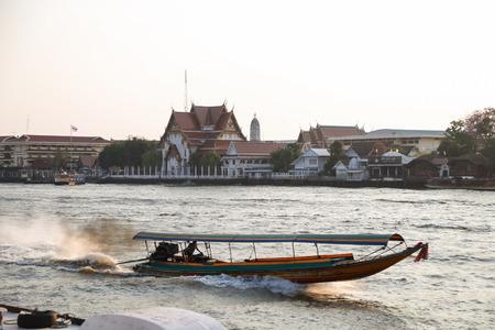 phraya: boat at Chao Phraya River in harbor wat rakang.