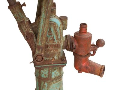 hand crank: Vintage Rust Hand Crank Manual Water Pump Isolated Stock Photo