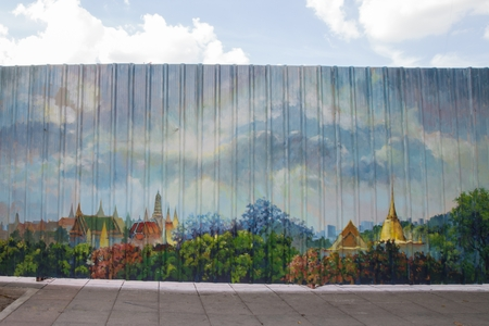 graffito: Mural on a metal fence