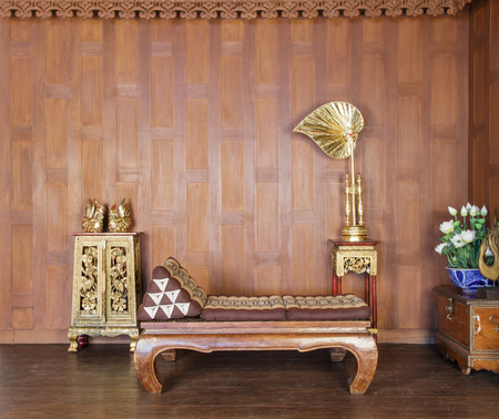 table, chairs and floor of old Thai house