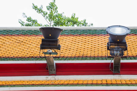 wat pho: lantern on the roof, at Wat Pho Bangkok Thailand Stock Photo
