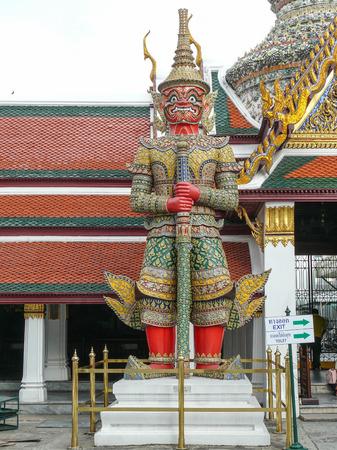 southeastern: Guardian at Emerald Buddha Temple in Bangkok Thailand.