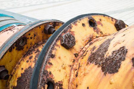junction pipe: Rusty orange metal tube texture. Stock Photo