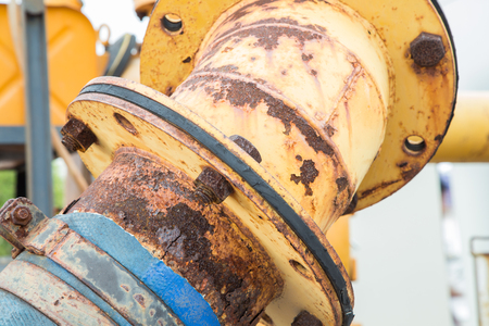 coupled: Rusty orange metal tube texture. Stock Photo