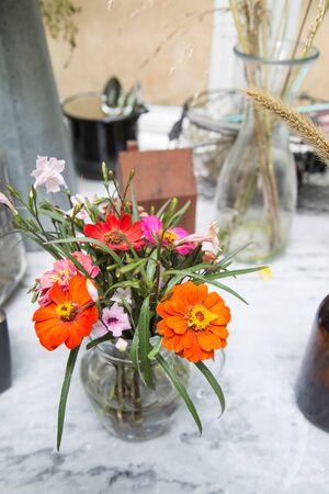 Vase of freshly cut flowers