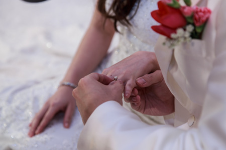 Wedding rings on newly married hands
