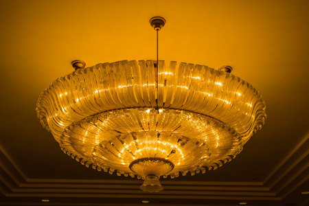 Light fixture hanging from ceiling.