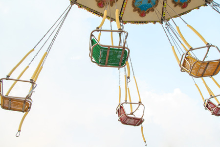 chain swing ride: chain swing ride in amusement park