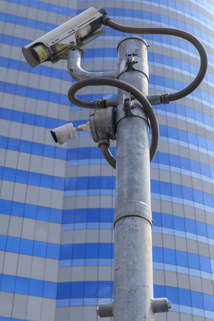 closed circuit: closed circuit camera outdoor on blue sky background