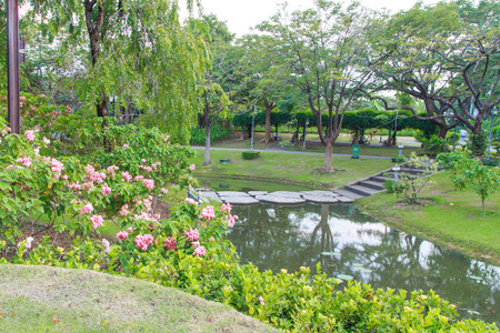 sirikit: walkway view, Botanical garden, Queen Sirikit Park, Bangkok Stock Photo