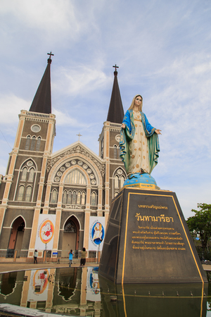 immaculate: Mary figure standing at the Cathedral of Immaculate Conception, Chanthaburi province, Thailand