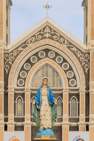 immaculate conception: Mary figure standing at the Cathedral of Immaculate Conception, Chanthaburi province, Thailand