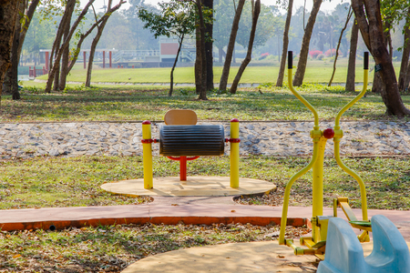 Exercise equipment in public park in a sunny day