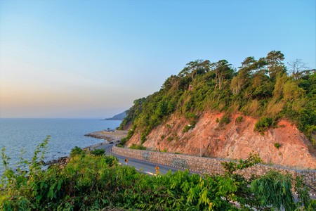 Curve Road on the Cliff by the Sea at Noen Nangphaya View Point , Chanthaburi