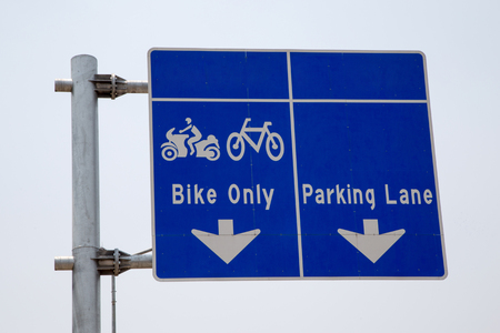 Bike lane signpost for bicycle and motorcycle in Thailand