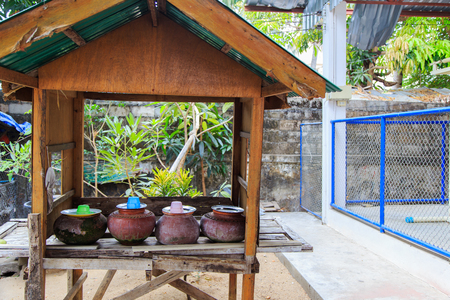 Clay pots used to put drinking water with green leaves background, Traditional of northern Thailand Standard-Bild