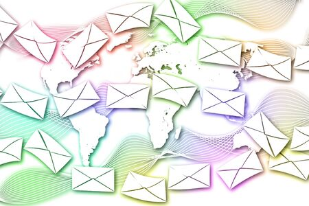letter with colorful world background  photo